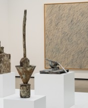 A collection of sculpture and a painting by Cy Twombley